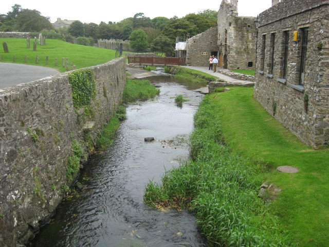 River Alun flowing between St David's Cathedral and the bishops palace