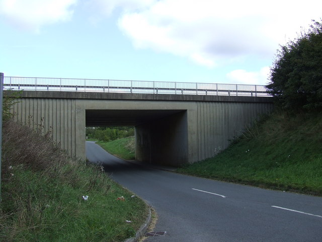 Dual-Carriageway Bridge over the lane to Elkstone