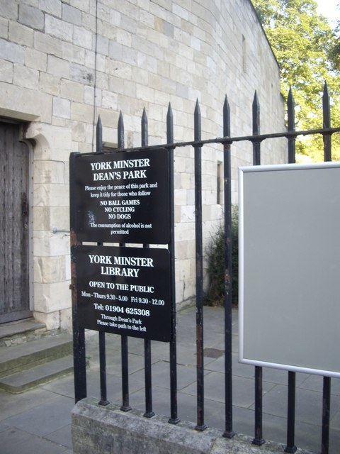 Access to Dean's Park and York Minster Library