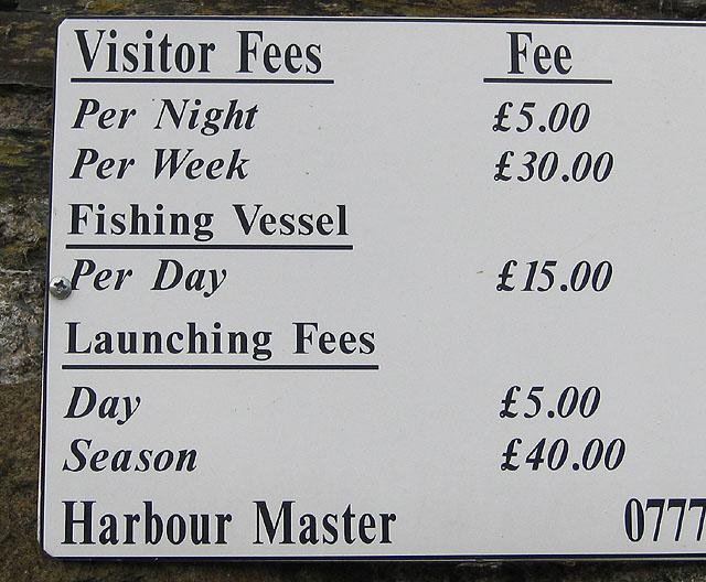 Harbour fees, September 2009