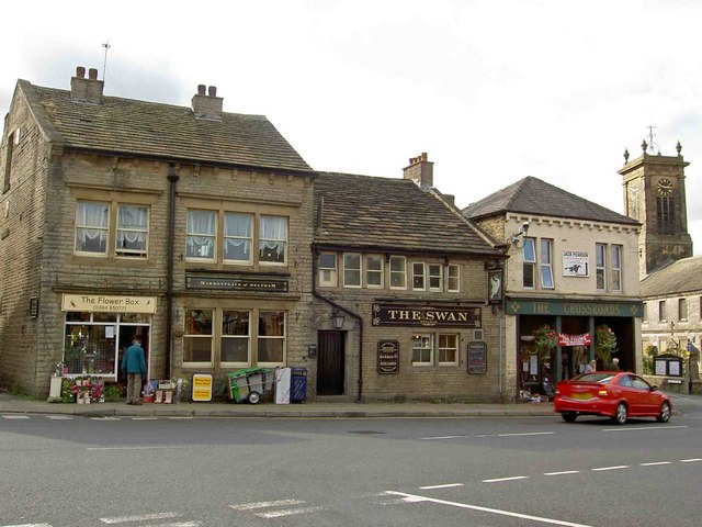 Shops and pubs in Meltham near Huddersfield