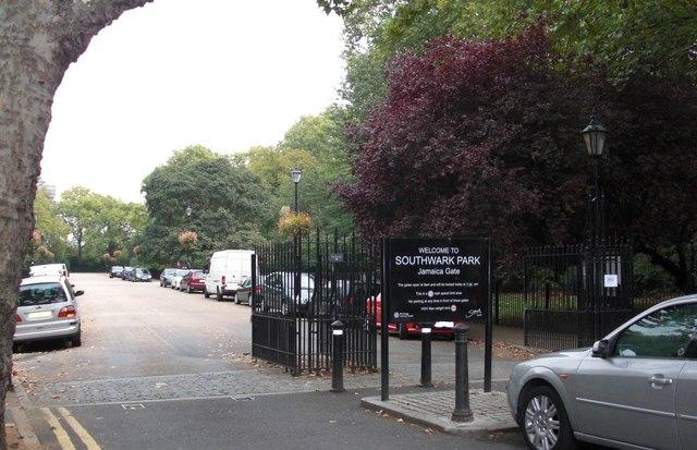 Jamaica gates (1 of 6) to Southwark Park, Rotherhithe, London, SE16