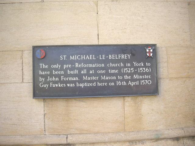 Plaque on St Michael le Belfrey