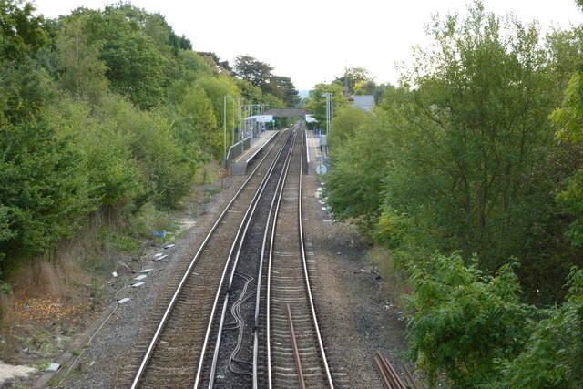 A view of Bearsted Station from the railway bridge
