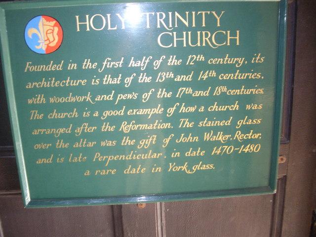 A plaque inside Holy Trinity Church