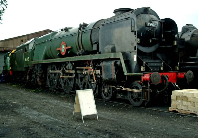 """Merchant Navy Class 35005 """"Canadian Pacific"""" outside Ropley loco shed"""