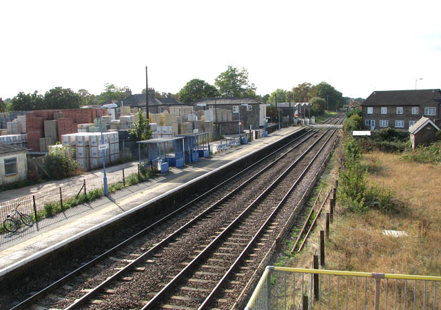 View along railway line from footbridge