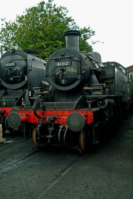 Ivatt tank locomotive 41312 outside Ropley loco shed