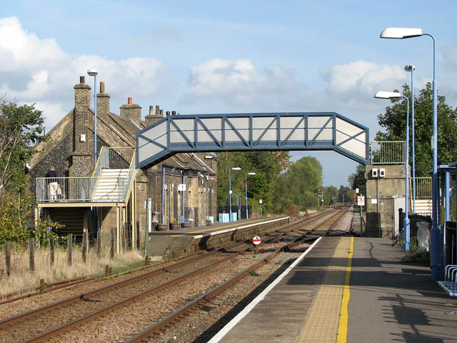 Brandon railway station - view east along the westbound platform