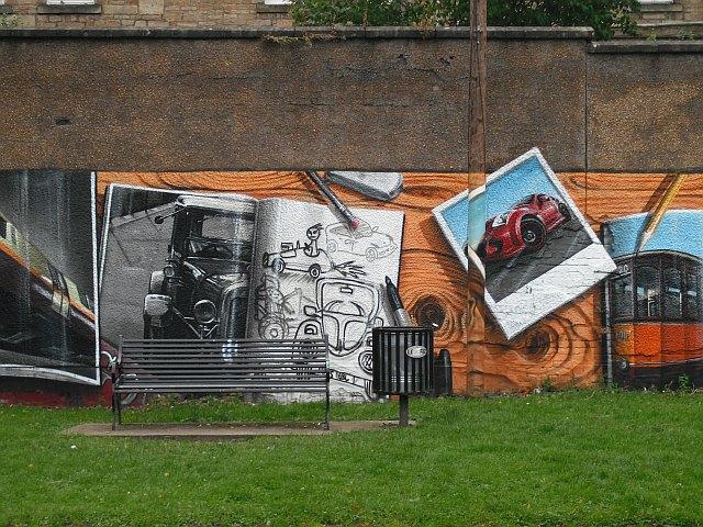 Mural, Kelvingrove Park. 2 - Cars