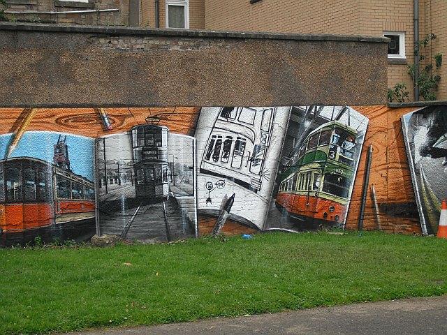 Mural, Kelvingrove Park. 3 - Trams