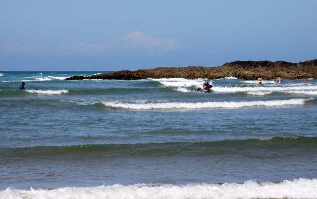 Surfing on Summerleaze Beach