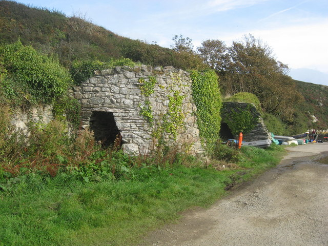 Two of the lime kilns at Porth Clais