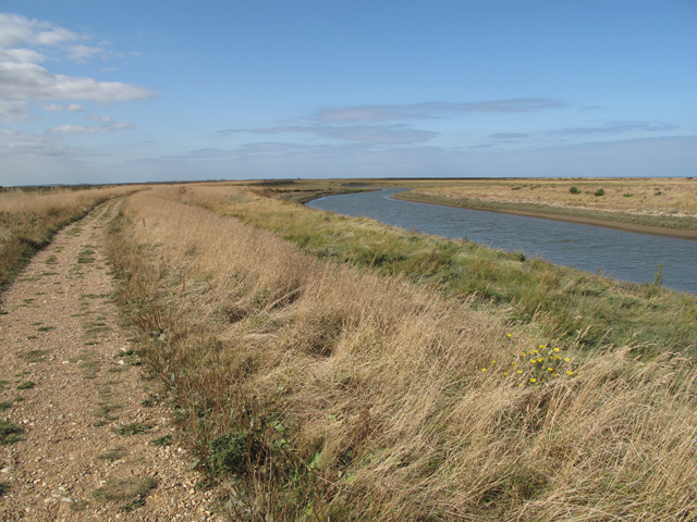 Cley Channel or River Glaven and the Norfolk Coast Path