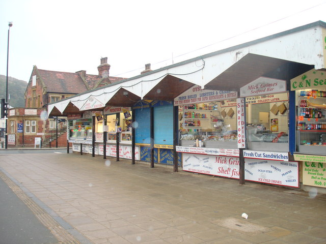 Shellfish stalls on Sandside, Scarborough