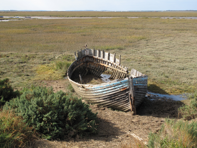 Salt marshes, Blakeney Channel and decaying boat