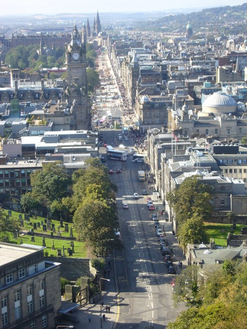 Nelson Monument view of Princes Street