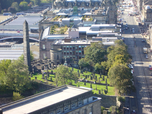 Nelson Monument view of Old Calton Burying Ground