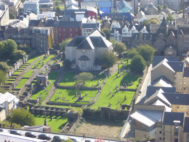 Nelson Monument view of Canongate Kirk