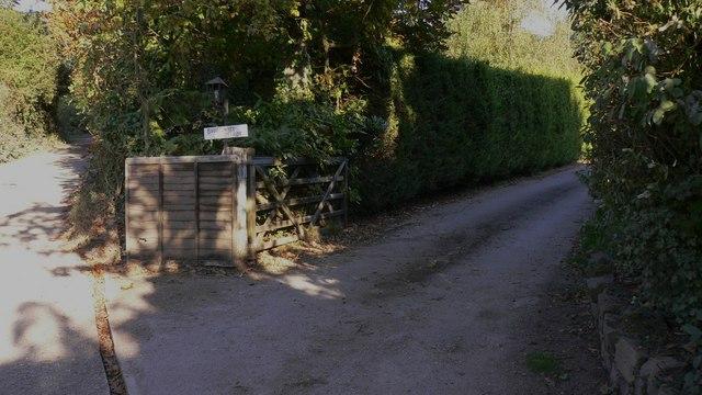 Cottage entrance on bridleway