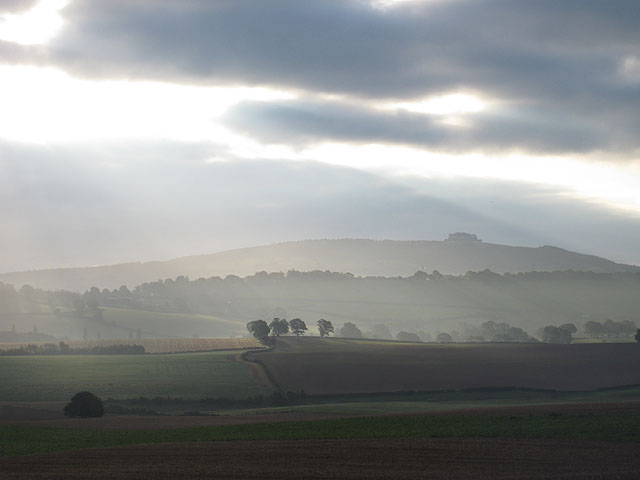 Grey sunrise over farmland
