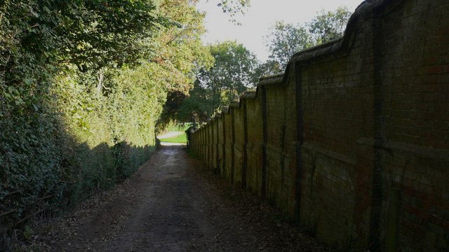 Private lane and wall beside Rooks Court