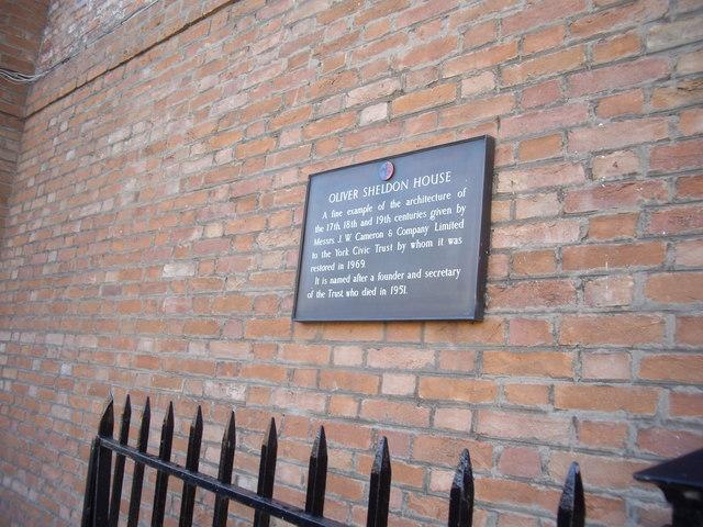Oliver Sheldon House plaque