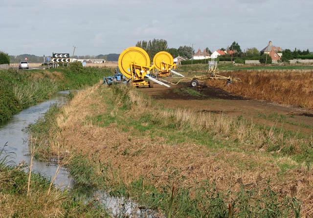 Irrigation equipment beside Mildenhall Drain