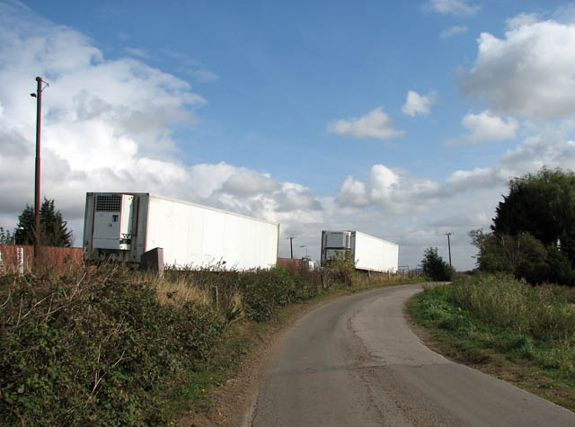 Lorry trailers parked by Shippea Hill station