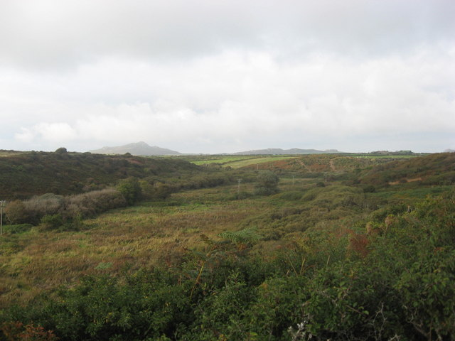 Moorland and bog surround the River Alun above Porth Clais