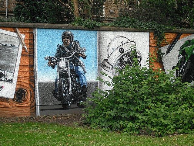 Mural, Kelvingrove Park. 9 - Hairy biker