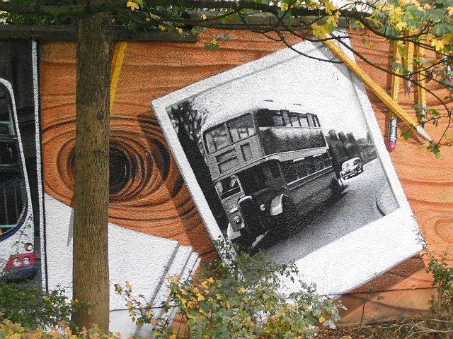 Mural, Kelvingrove Park. 13 - Bus, not for shoving grannies off