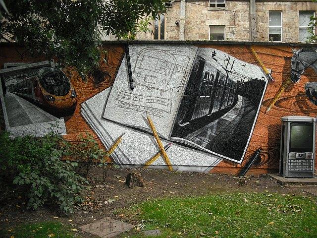Mural, Kelvingrove Park. 15 - Trains