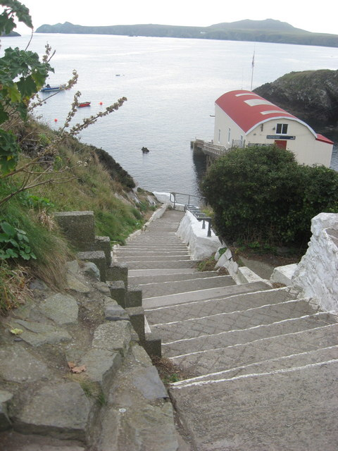 Access steps to the harbour at St Justinian
