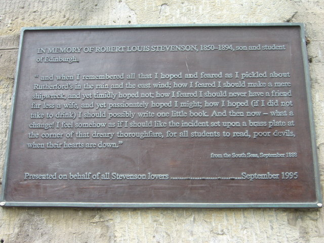 Robert Louis Stevenson plaque, Drummond Street