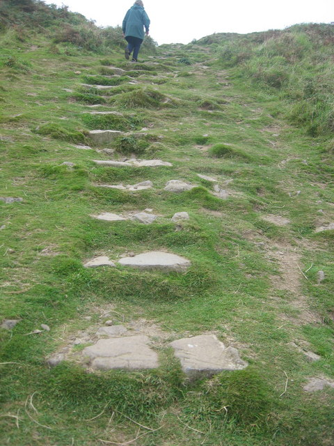 Access steps from the Deerpark up to Wooltack Point
