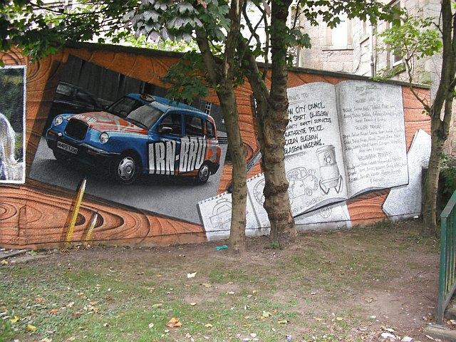 Mural, Kelvingrove Park. 17 - Taxi and credits