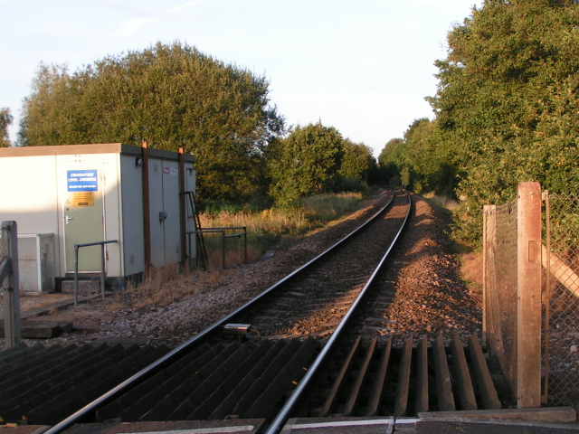 Crannaford level crossing looking east along the line