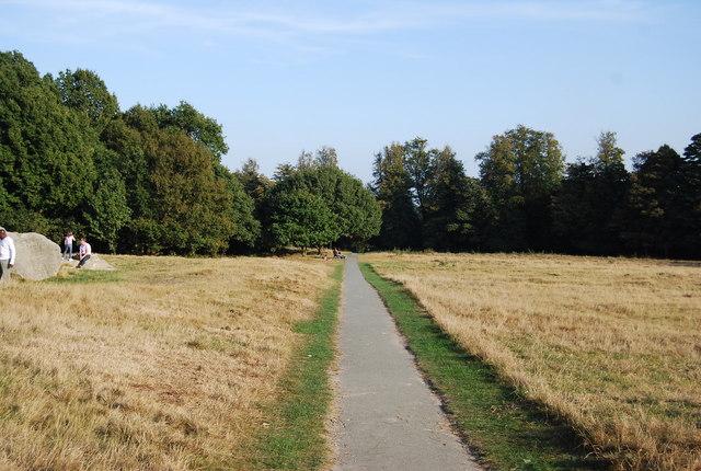 Footpath across Tunbridge Wells Common near Wellington Rocks