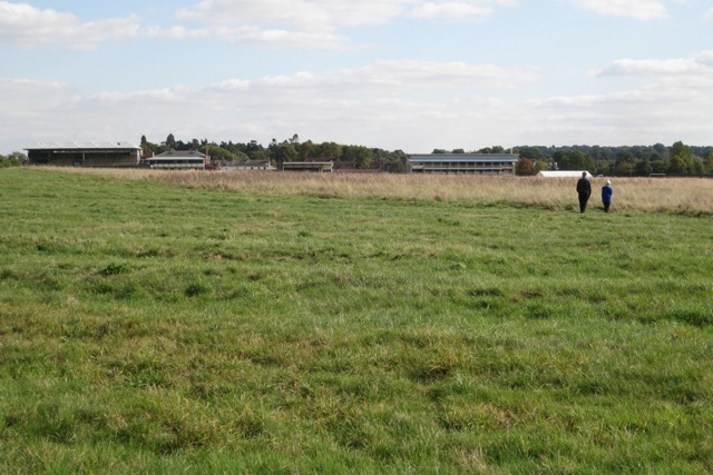 Warwick Racecourse stands from St Mary's Lands