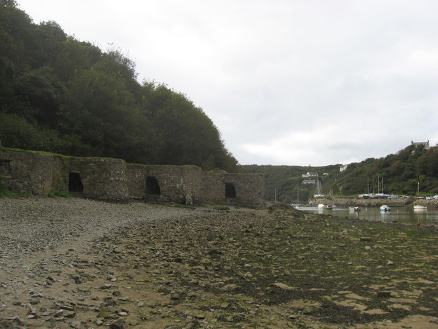 Well preserved row of lime kilns at Solva harbour