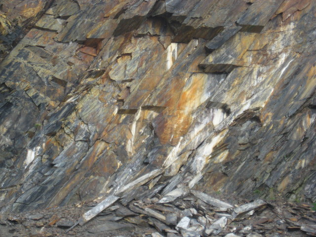 Prominent rock strata in abandoned slate quarry