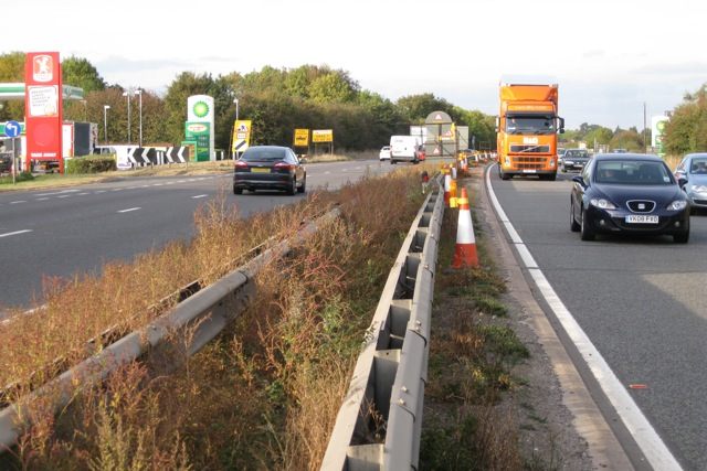 Crossing the A46 by public footpath near Warwick