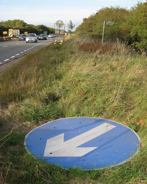 A46 verge, public footpath and orphaned roadsign