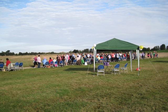 Charity walk, St Mary's Lands, Warwick - the finish