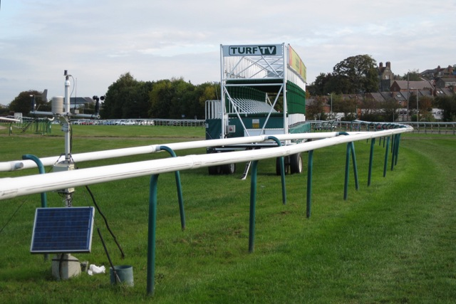 Mobile starting gates and weather station, Warwick racecourse