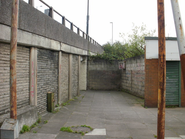 Footpath emerges from under M4, Malpas, Newport