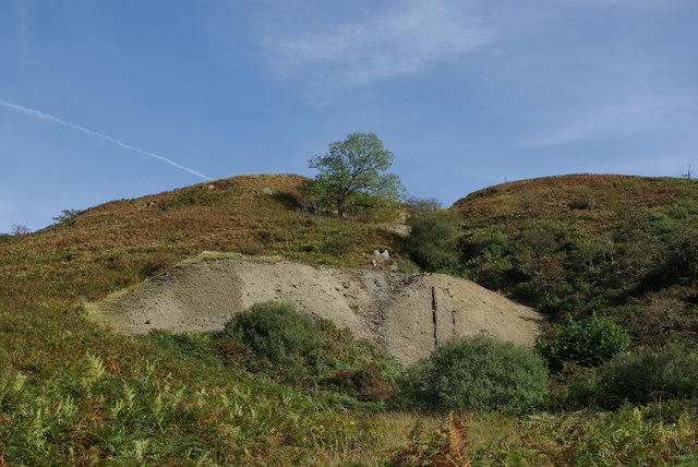 Spoil heap at disused Drumruck Copper Mine