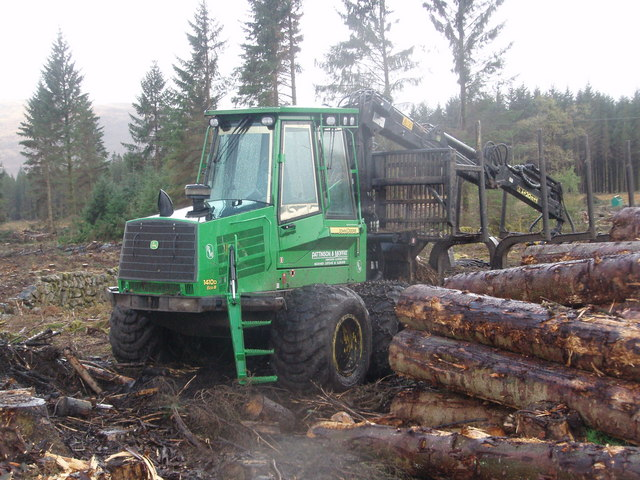 John Deere forwarder stands idle alongside the Southern Upland Way