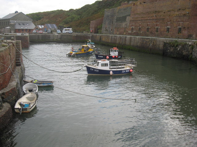 Porthgain harbour seen from the entrance bar